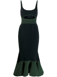 David Koma Cut Out Midi Dress Black