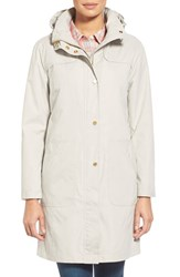 Women's Ellen Tracy A Line Raincoat With Detachable Hood Stone