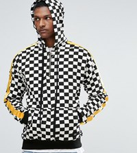 Sixth June Hoodie In Checkerboard With Yellow Stripe Exclusive To Asos White