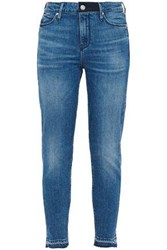 Rta Woman Cropped Frayed Faded Mid Rise Skinny Jeans Mid Denim