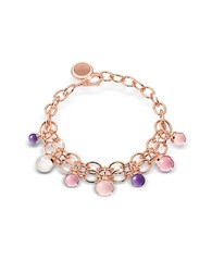 Rebecca Hollywood Stone Rose Gold Over Bronze Chains Bracelet W Hydrothermal Stones Multicolor