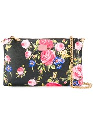 Dolce And Gabbana Floral Print Chain Clutch Black