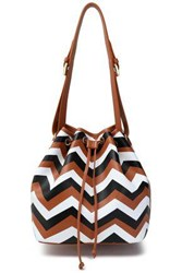 Missoni Printed Leather Bucket Bag Camel