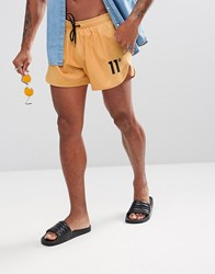 11 Degrees Logo Swim Shorts In Yellow