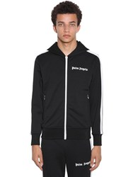Palm Angels Logo Print Tech Jersey Hood Track Jacket Black