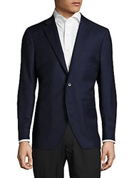 Saks Fifth Avenue Tailored Fit Checked Wool Blend Sportcoat Blue