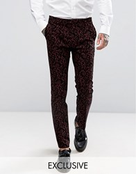 Noose And Monkey Super Skinny Suit Trouser With Floral Flocking Burgundy Red