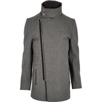 River Island Mens Grey Wool Blend Funnel Neck Jacket