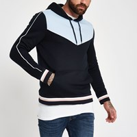 River Island Blue Slim Fit Piped Hoodie
