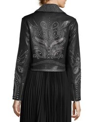 Alice Olivia Cody Studded Lamb Leather Moto Jacket Black Multi