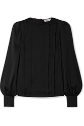 Anine Bing Renee Pleated Stretch Silk Satin Blouse Black