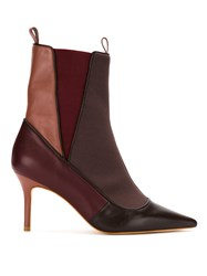 Sarah Chofakian Panelled Stiletto Ankle Boots Red