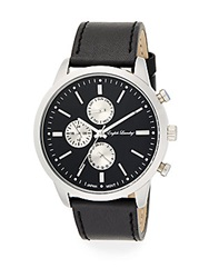 English Laundry Stainless Steel Chronograph Black Leather Strap Watch