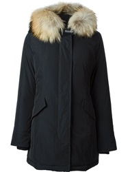 Woolrich Trimmed Hoodie Padded Parka Blue