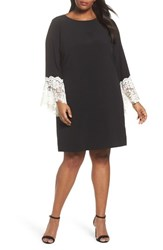 Tahari Plus Size Women's Lace Cuff Shift Dress Black Ivory
