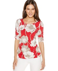Alfani Floral Print Ruched Top Red Floral
