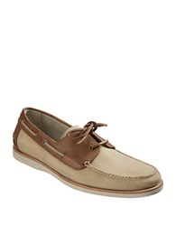 Tommy Bahama Brody Leather Two Tone Boat Shoes Brown