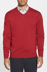 Men's Big And Tall Cutter And Buck 'Douglas' V Neck Sweater Stewart Red