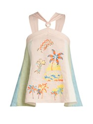 Peter Pilotto Embroidered Halterneck Top Pink