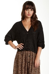 American Apparel Metallic Crop Cardigan Black