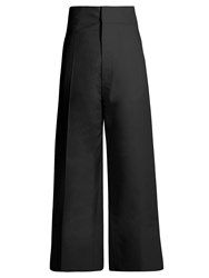 Jacquemus High Rise Wide Leg Wool Cropped Trousers Black