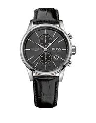 Hugo Boss Chrono Leather Wrist Watch Black
