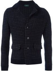 Zanone Fitted Cardigan Blue