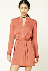 Forever 21 Satin Button Front Shirt Dress