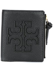 Tory Burch Logo Print Flat Wallet Black