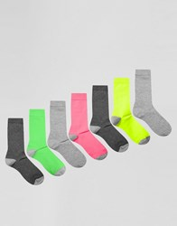 Asos Socks In Neon And Grey 7 Pack Multi