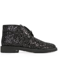 Giuseppe Zanotti Design Glitter Lace Up Boots Black