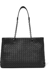 Bottega Veneta Shopper Medium Intrecciato Leather Tote Black