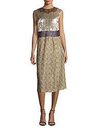 Dries Van Noten Embroidered Beaded Dress Gold Multi