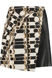 Raoul Sophie Wrap Effect Jacquard And Leather Mini Skirt Black