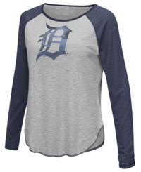 G3 Sports Women's Detroit Tigers Line Drive Long Sleeve T Shirt Gray Navy