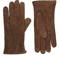 Barneys New York Men's Cashmere Lined Suede Gloves Brown