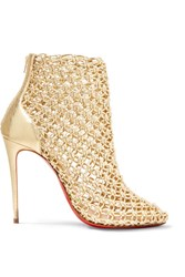 Christian Louboutin Andaloulou 100 Metallic Leather Ankle Boots Gold