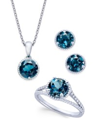 Macy's London Blue Topaz Rope Style Pendant Necklace Stud Earrings And Ring Set 5 Ct. T.W. In Sterling Silver