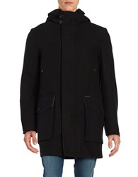 Cole Haan Hooded Wool Blend Coat Black