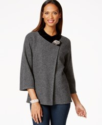 Jm Collection Petite Velvet Trim Crossover Coat Only At Macy's Dark Charcoal Heather