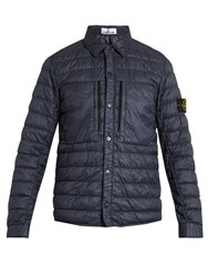 Stone Island Logo Patch Quilted Down Jacket Blue