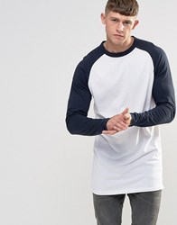Bellfield Longline Raglan Long Sleeve Baseball T Shirt Navy