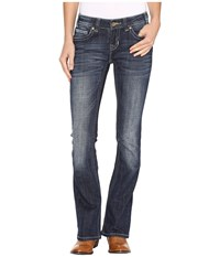 Rock And Roll Cowgirl Rival Low Rise Jeans In Dark Vintage W6 9610 Dark Vintage Women's Jeans Navy