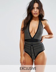 Wolf And Whistle Studded Plunge Suit Black