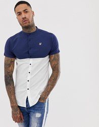 Sik Silk Siksilk Short Sleeve Shirt In White With Contrast Panel
