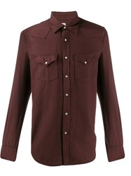 Eleventy Long Sleeve Fitted Shirt Red