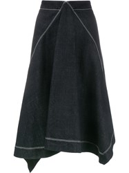 Marni Asymmetric Denim Midi Skirt Blue
