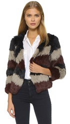 Pam And Gela Fur Coat Multi Stripe