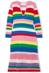Mira Mikati Striped Ribbed And Crocheted Cotton Dress Pink