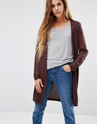 Jdy Long Cardigan With Lace Sleeves Fudge Brown